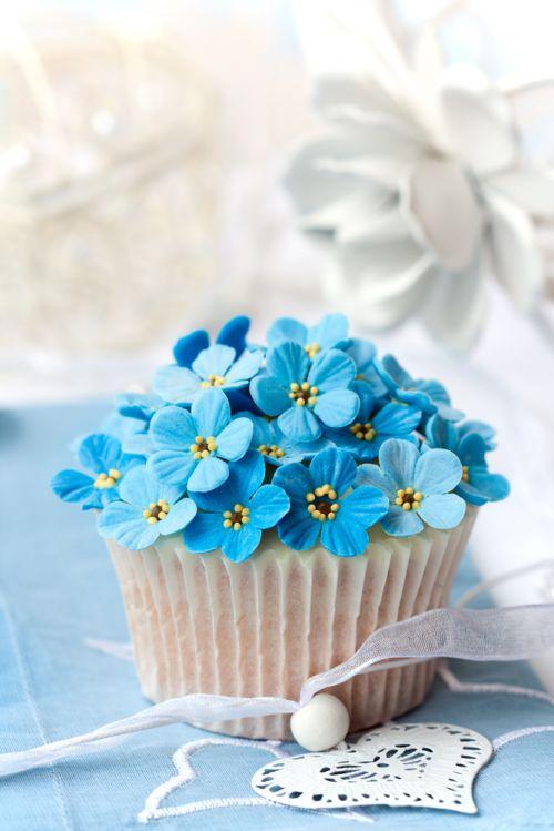 Cupcakes flores azuis iCasei