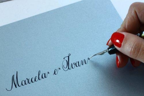 convite de casamento caligrafia
