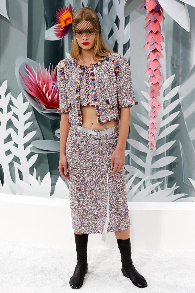 Chanel Alta Costura Paris 2015 Saia e Jaqueta Estampada