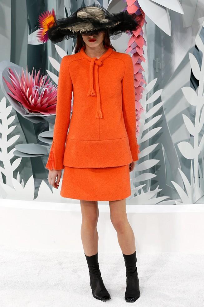 Chanel Alta Costura Paris 2015 Saia e Jaqueta Laranje