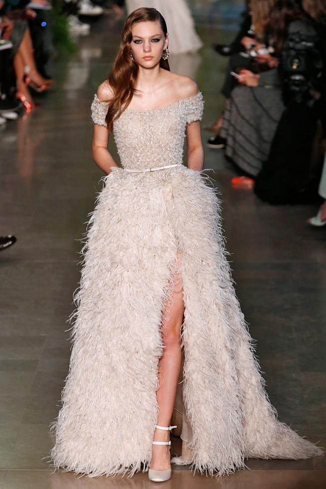 Elie Saab Alta Costura Paris 2015 Vestido Plumas
