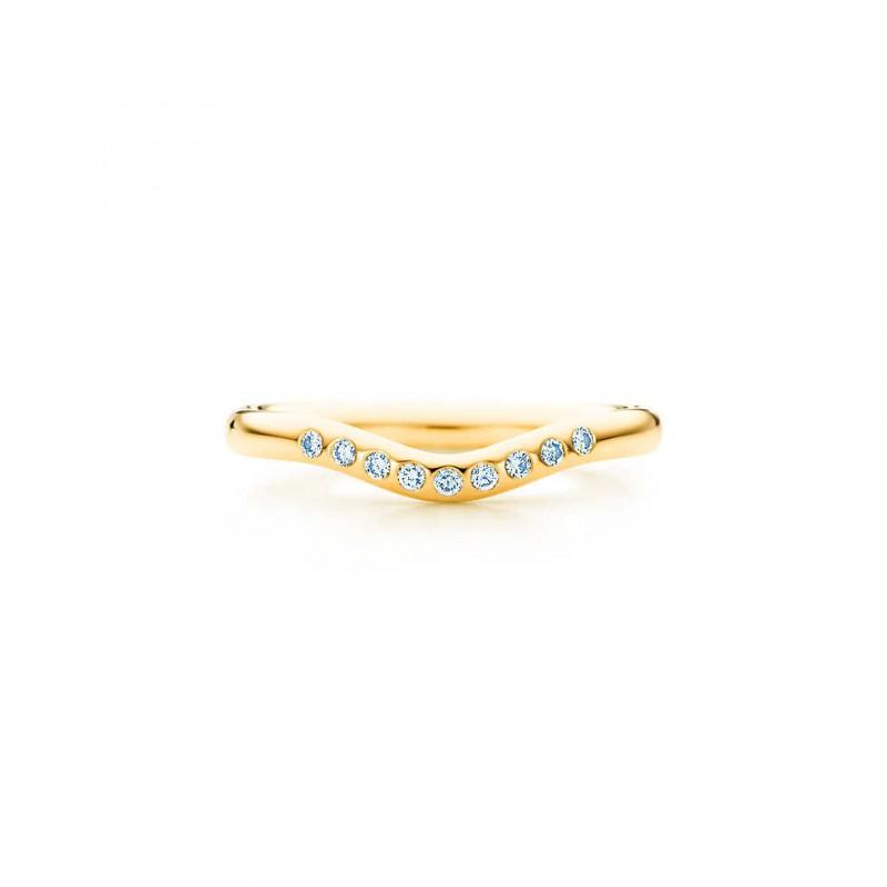 Alianças de casamento em ouro com diamantes Tiffany