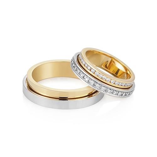 Aliança de casamento - Alianças de casamento ouro e diamante love me Vivara