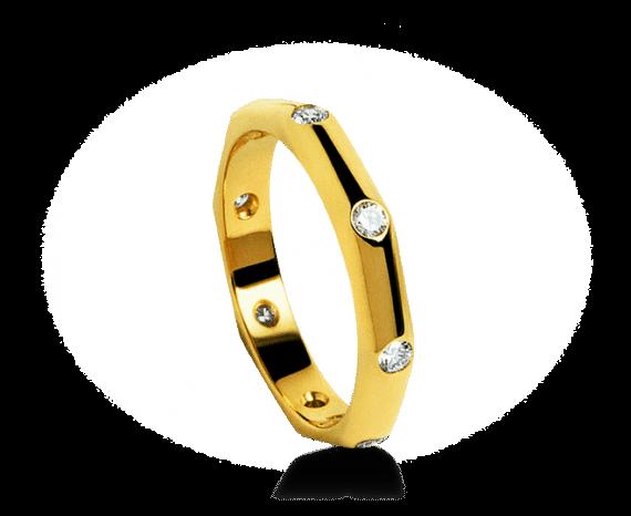 Aliança de casamento Corona em ouro amarelo cravejada Bvlgari.