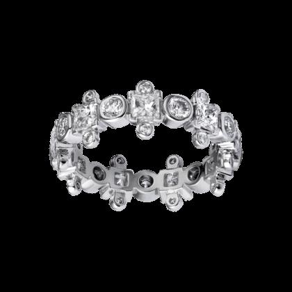 Aliança de casamento em ouro branco e diamante Cartier.