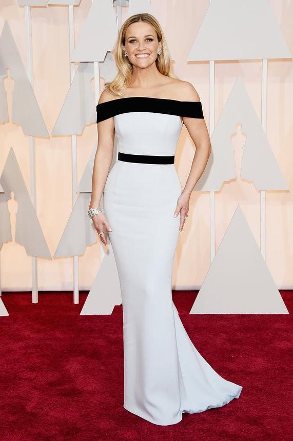 Reese Witherspoon vestido branco e preto de Tom Ford - Inspiração | Oscar 2015