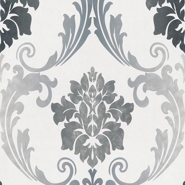 papel de parede medalhão cinza para decoração da casa nova