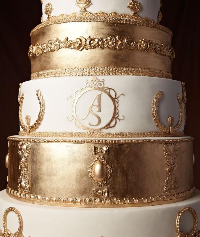 bolo de casamento - folha de ouro - Nelson The King Cake