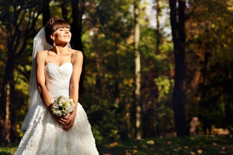 vestidos de noiva - véu e buquê