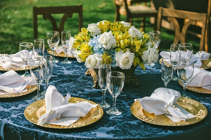 Decoraç u00e3o de casamento Azul e Amarelo -> Enfeites De Mesa Para Casamento Azul E Branco