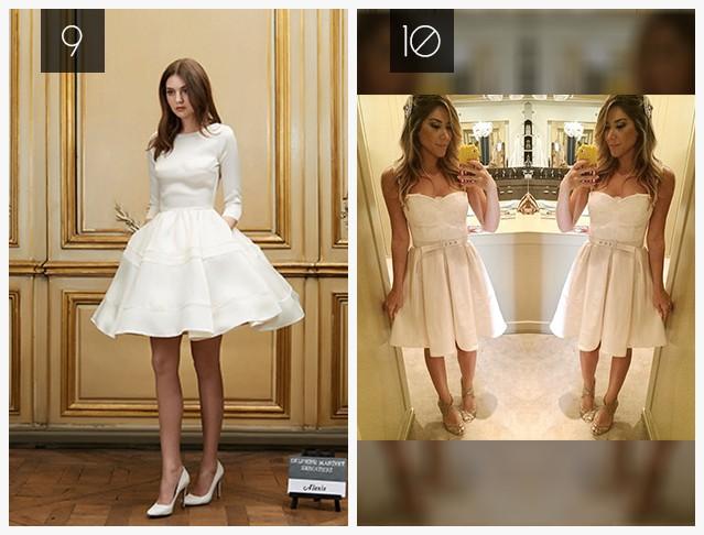 vestido de noivado curto e rodado