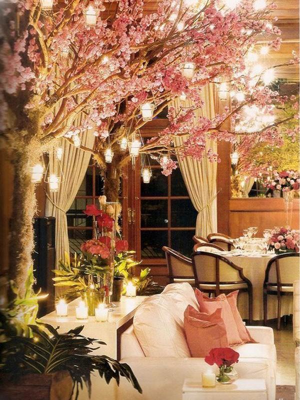 decoração de casamento com velas - árvores - revista icasei
