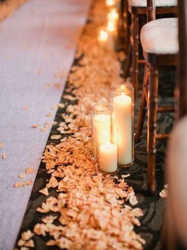 decoração de casamento com velas - caminho da noiva- revista icasei