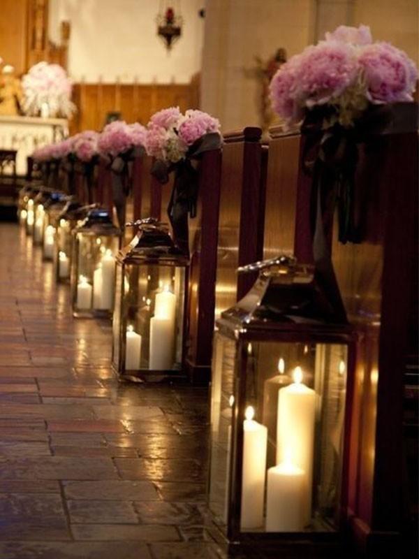 decoração de casamento com velas - igrejas com luminárias - revista icasei