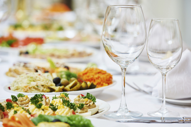Catering services. glasses set and dish with food meal in restaurant