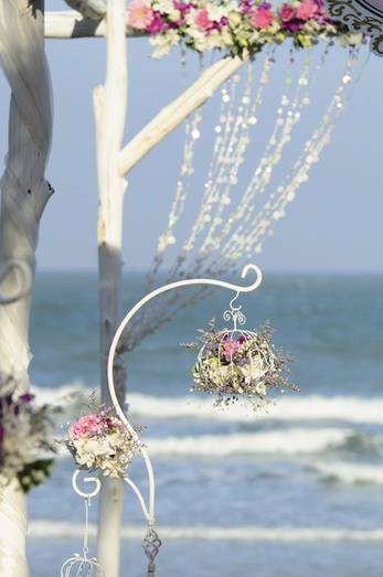 Wedding bouquet set up in evening with sunny