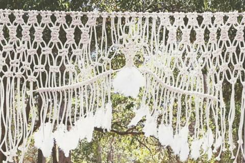 Cortina de Macramê para o altar do casamento