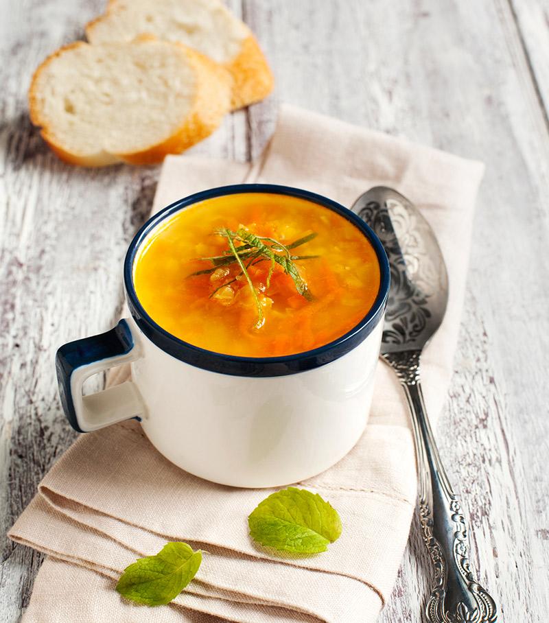 Ilha gastronômica de sopas consomé