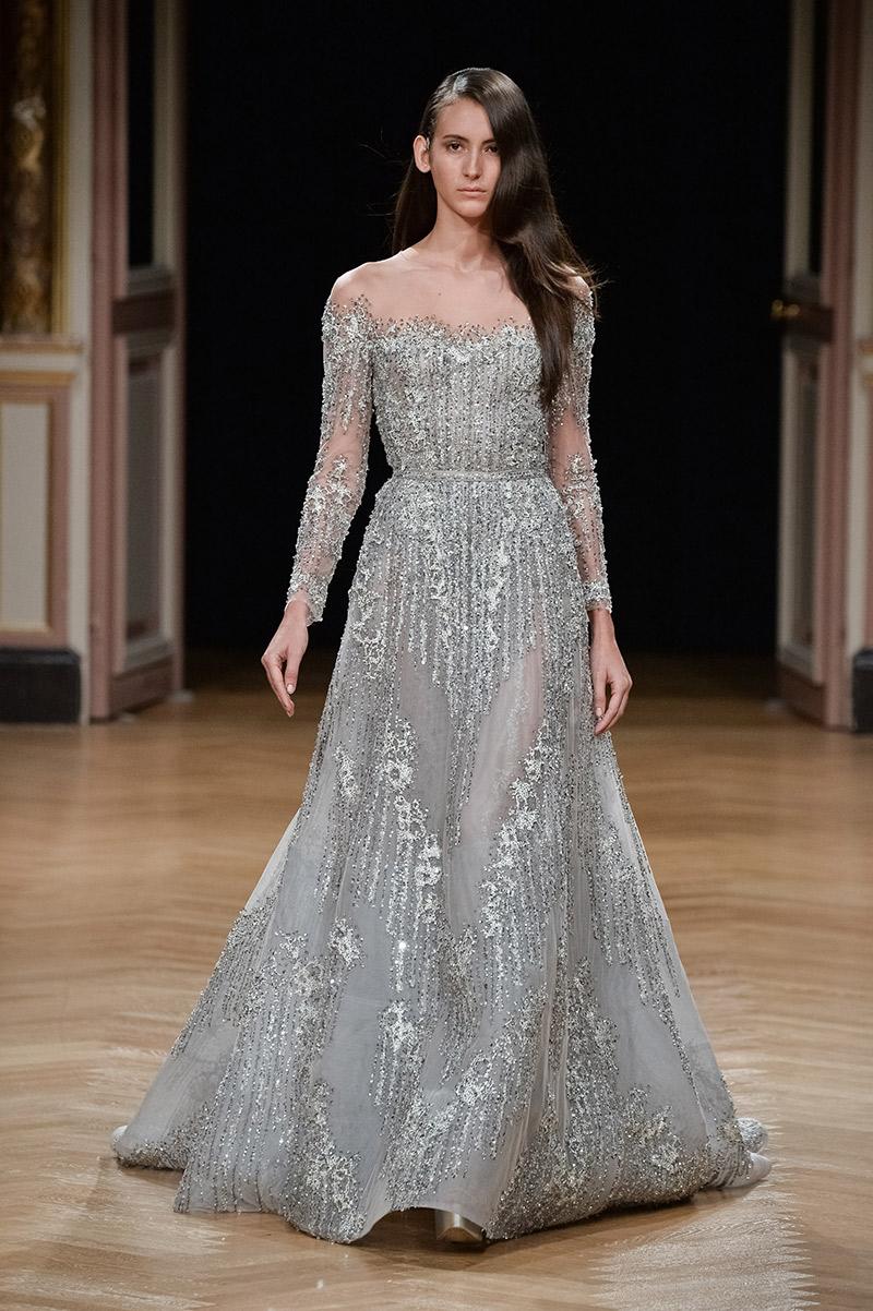 Vestido de noiva tendências 2016 Ziad Nakad ombro a ombro