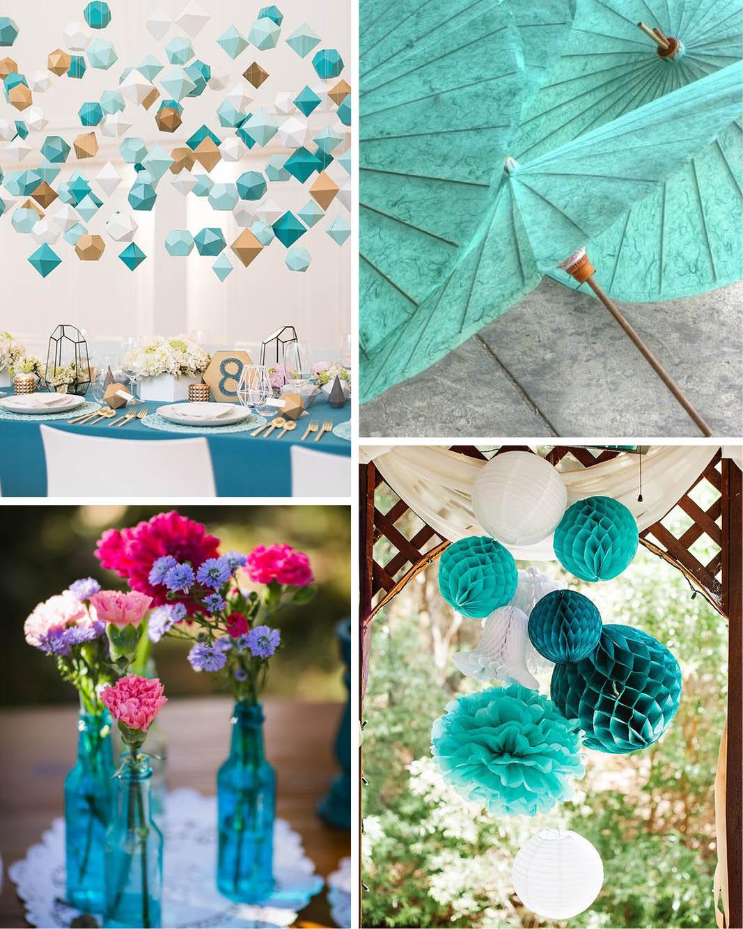 Decoração de casamento O significado das cores azul turquesa