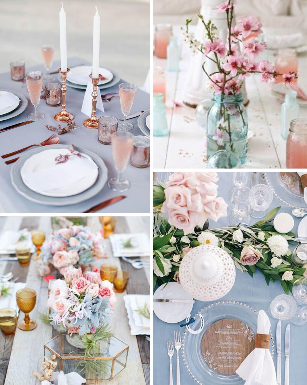 Decoração de casamento-cores-azul serenity e rosa quartzo