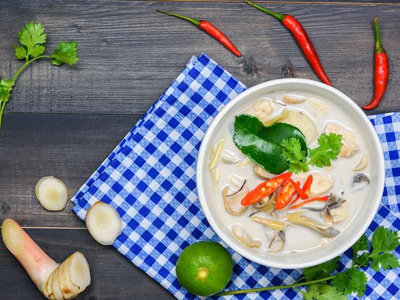 Ilha gastronômica tailandesa Tom Kha Gai