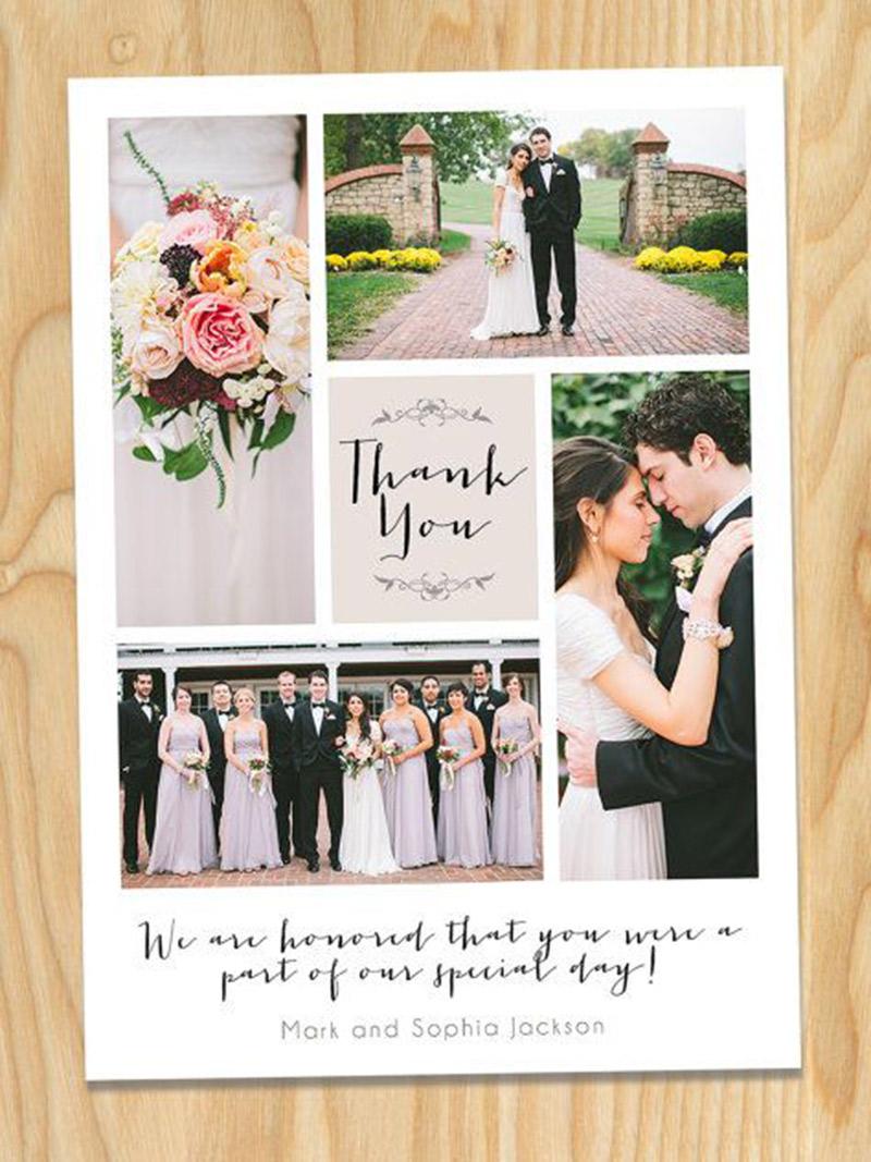 Papelaria de casamento Cartão de agradecimento a mão