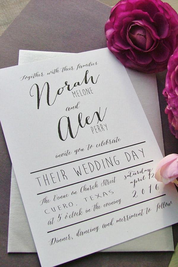 Papelaria de casamento tendências para 2017 caligrafia