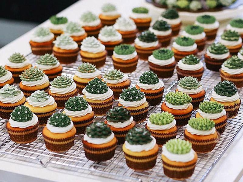 Doces de casamento com suculentas cupcake