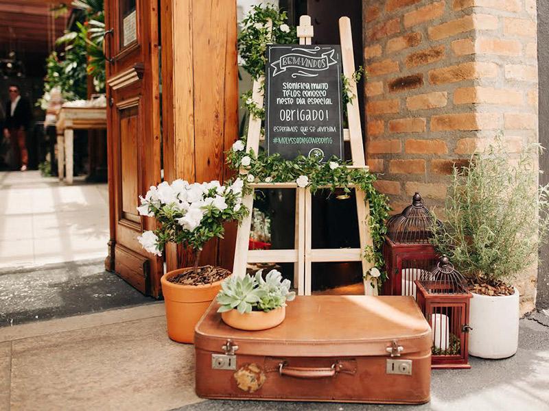 Plantas e folhagens decoração de casamento