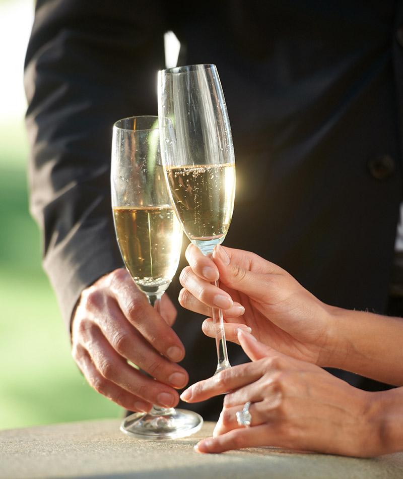 Taças e copos para festa de casamento flute