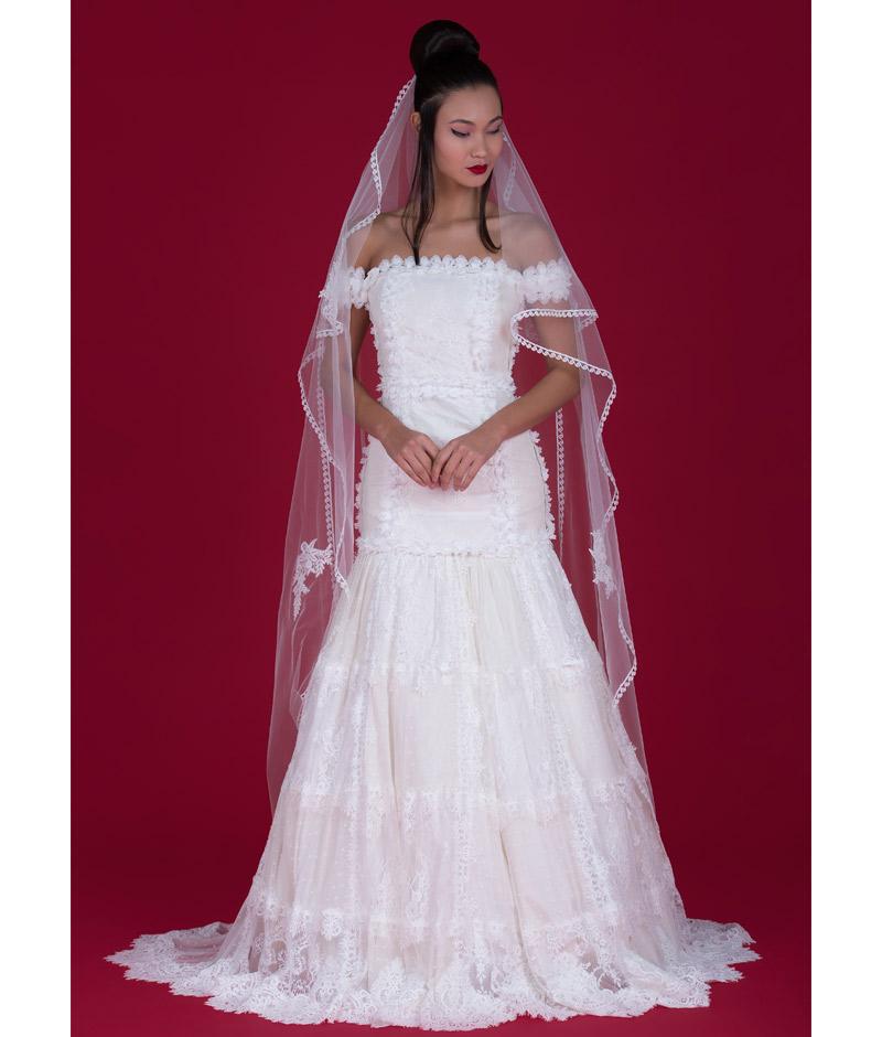 Noiva com vestido com renda borboletas em relevo e véu da pó de arroz