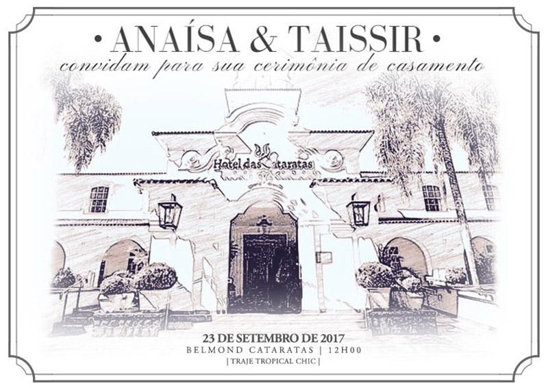 Casamento ao ar livre de Ana e Tassir convite
