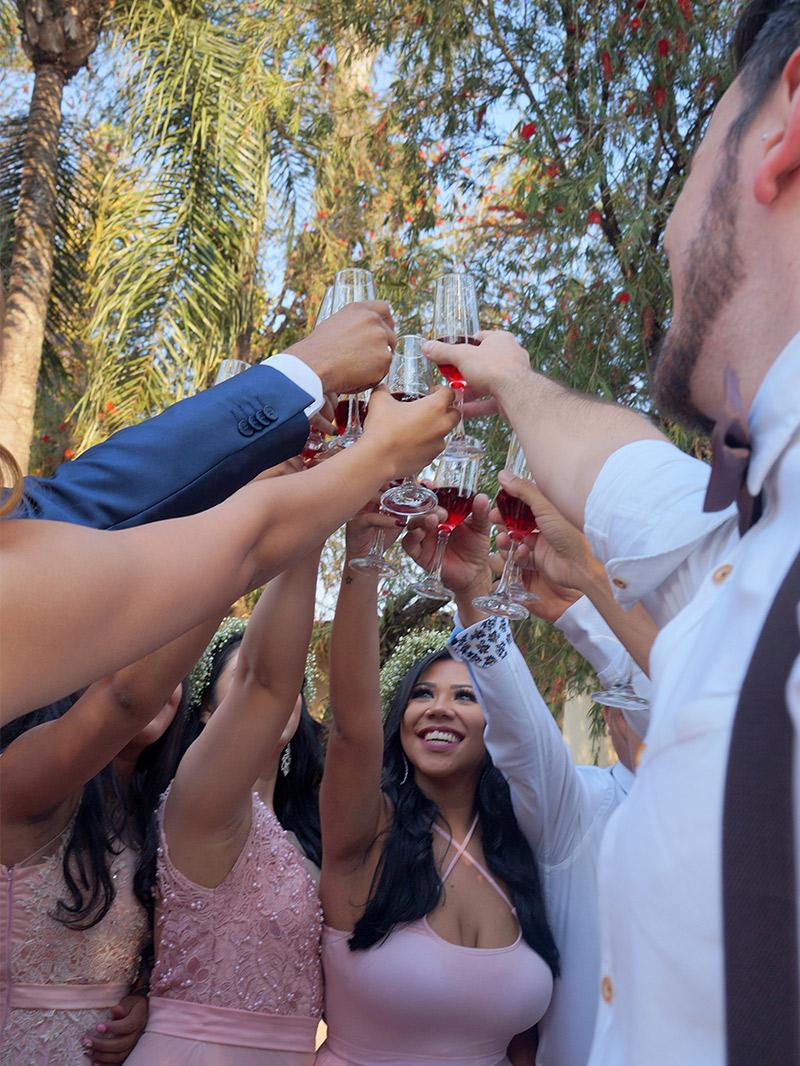 Casamento DIY noivos e padrinhos brindando