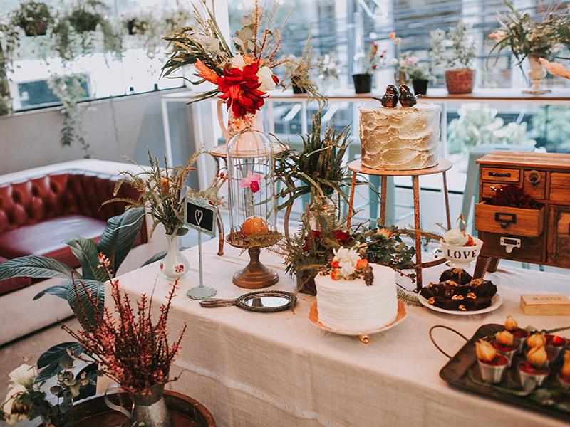 Casamento boho chic decoração mesa de doce