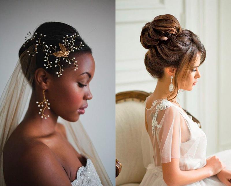 Penteados para noivas com coque alto