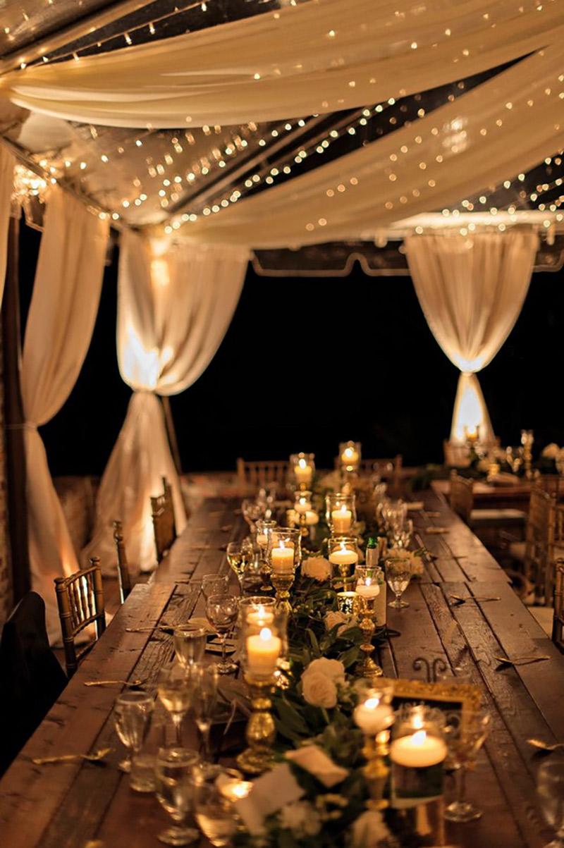 Casamento rústico chique iluminação