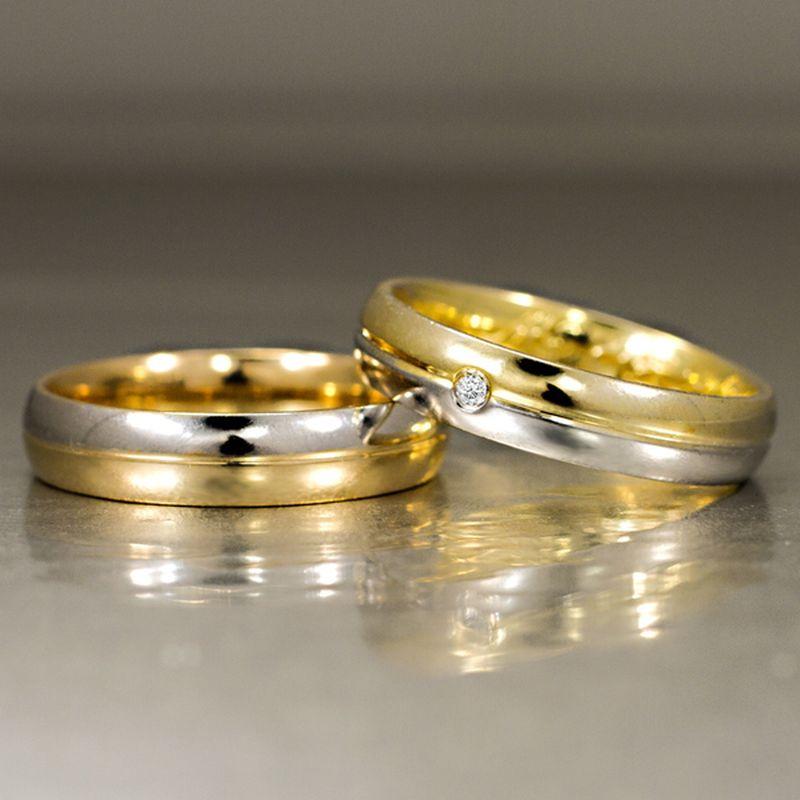 d8a5d914e9976 Duas tonalidades em alianças de casamento de ouro   Crédito  Casa das  Alianças