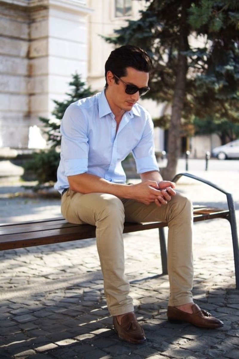 Mens French Blue Dress Shirt