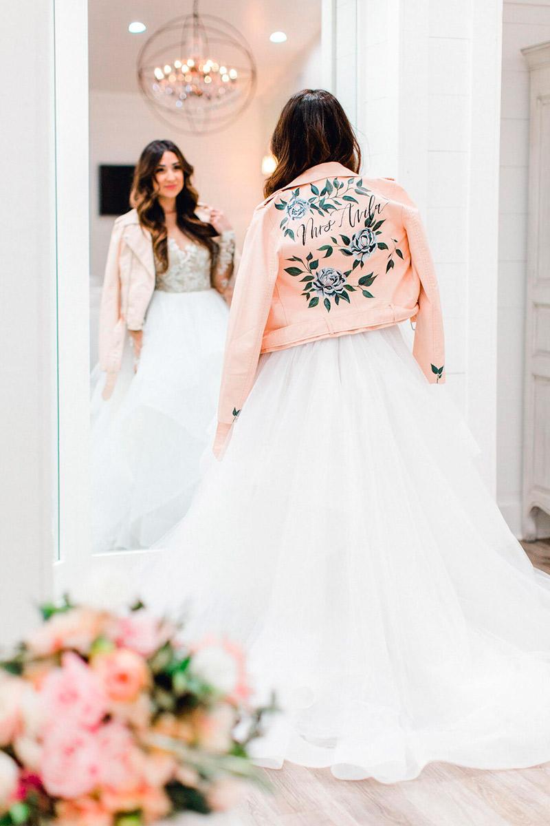 Jaquetas personalizadas para casamento noiva boho