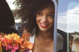 Noiva negra no dia do casamento