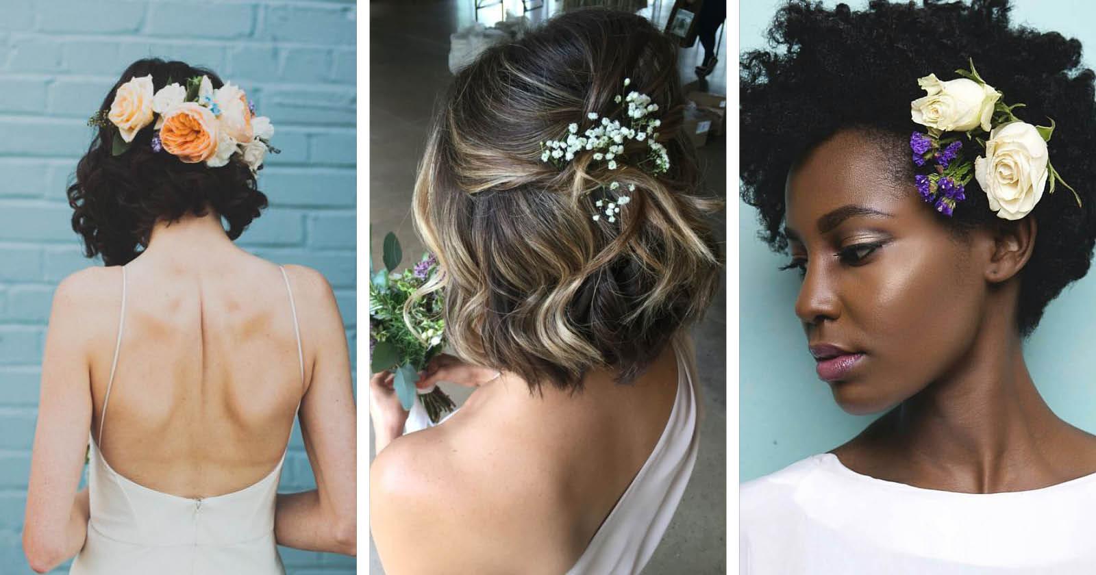 Penteados de cabelos curtos para madrinhas e convidadas