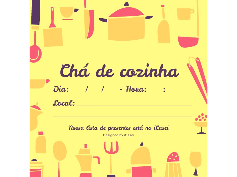 Convite De Chá De Panela Para Download