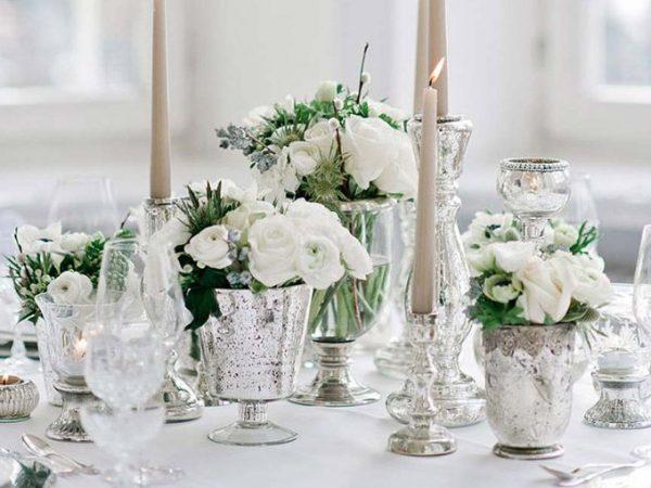 Inspirações de decoração prata e cromado no casamento como usar