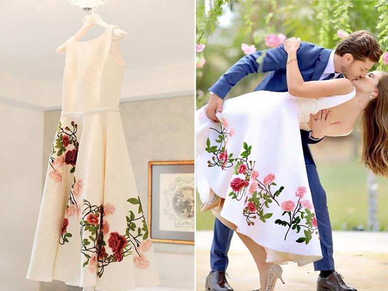 vestido de noiva comd etalhes coloridos