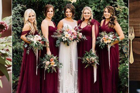 Como combinar vestido de madrinha marsala à decoração de casamento