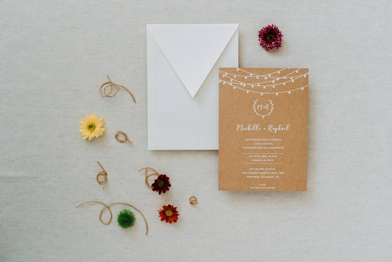 papelaria de casamento no outono