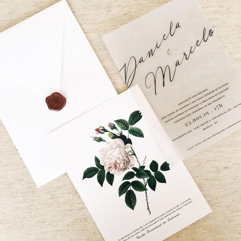 Convite de casamento casamento com flores