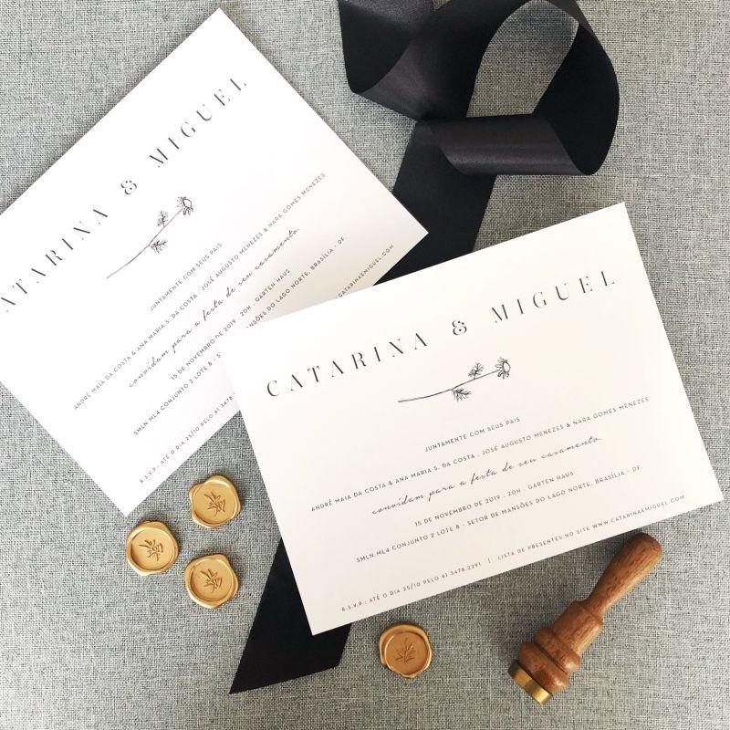 Convite de casamento tradicional e simples