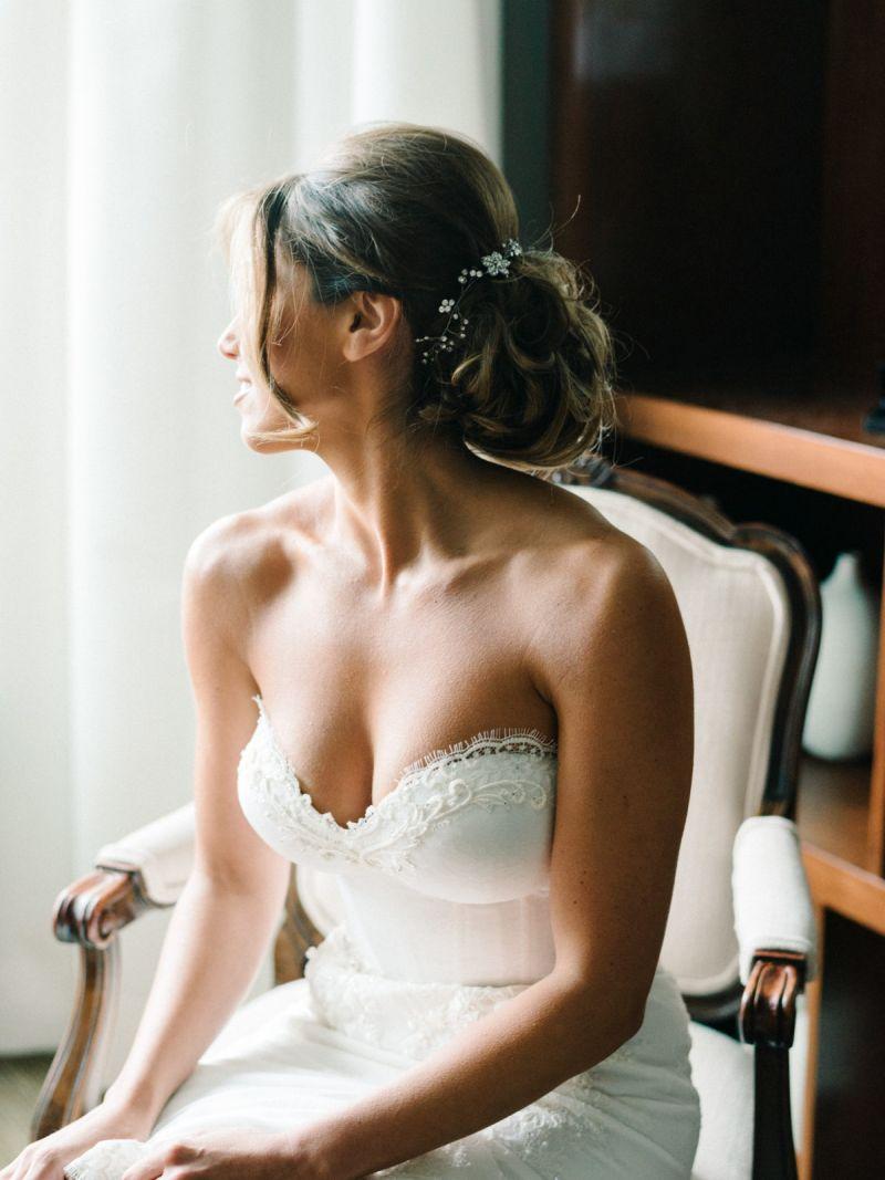 Coque para noiva com o cabelo um pouco maior
